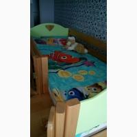 Кровать-чердак с горкой (серия детской мебели Эльф с карпатского бук