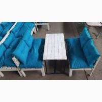 Лавки б/у, столы б/у деревянные с голубыми подушками