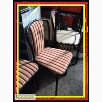 Стул металлический б/у с мягким полосатым сидением для ресторана кафе бара кофейни офиса