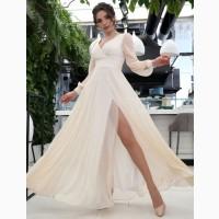 Блестящее вечернее или свадебное платье цвета шампань