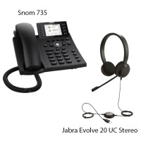 Snom D735 + Jabra Evolve 20 UC Stereo, комплект: sip телефон + гарнитура