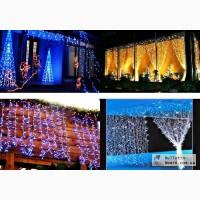 Новогоднее украшение зданий. Новогодняя иллюминация купить.Гирлянда дождь.