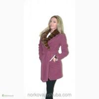 Яркое кашемировое пальто с норковым воротником распродажа