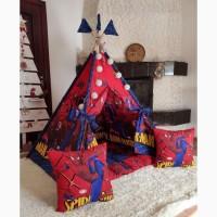 Детский вигвам палатка шатер человек паук на синем БОНБОН