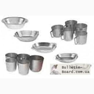 Алюминиевые кружки, тарелки и стаканы разных размеров