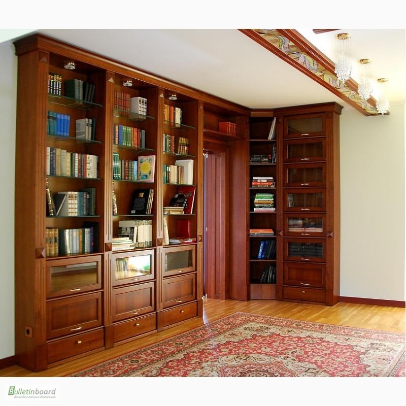 Библиотека из массива черешни. мебель для библиотеки в киеве.