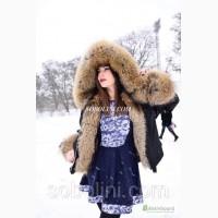 Короткая парка с мехом канадского енота, цвет плащевки черный, длина 70см