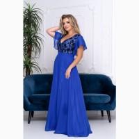Синее шифоновое вечернее платье в пол