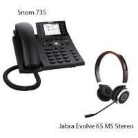 Snom D735 + Jabra Evolve 65 MS Stereo, комплект: sip телефон + гарнитура
