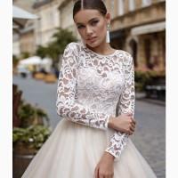 Великолепное свадебное платье цвета капучино