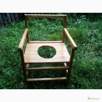 Переносной удобный туалетный стульчик-горшок ручной работы с дерева