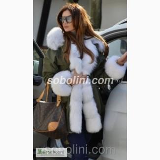 Шикарная зимняя парка цвета хаки с красивым мехом арктической лисы Жасмин
