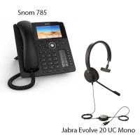Snom D785 + Jabra Evolve 20 UC Mono, комплект: sip телефон + гарнитура