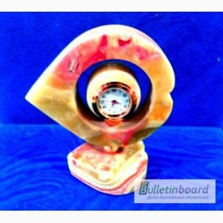Часы Сердечко с шариком из оникса 11см