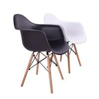 Кресло Тауэр Вуд, деревянные ножки, пластик, цвет темно-серый, черный, белый, желтый