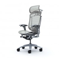 Кресло офисное OKAMURA CONTESSA II SEKONDA Light grey, серебряный каркас