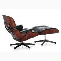 Кресло кожаное с оттоманкой Релакс, цвет черный, серый