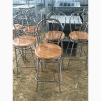 Стул барный б/у сидения из верзалита коричневого цвета каркас металлический