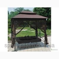 Садовые качели коричневые раскладные с крышей и москитная сетка
