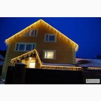 Гирлянда бахрома, новогодние гирлянды, световое оформление фасада