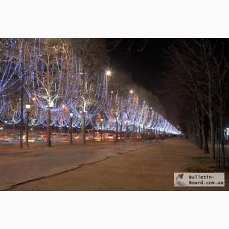 Новогодние украшения улиц, световое оформление фасадов. Монтаж световых гирлянд.