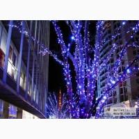 Новогодние украшения улиц, световая иллюминация.Монтаж гирлянд.