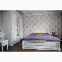 Двоспальне ліжко з натуральної деревини дуба