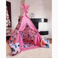 Палатка вигвам бабочки детская для девочки