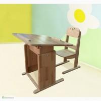 Парта со стулом деревянные Трансформер с наклонной столешницей