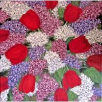 Картина масло холст Сирень с тюльпанами