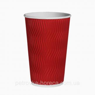 Гофрированные стаканы Красные 500мл