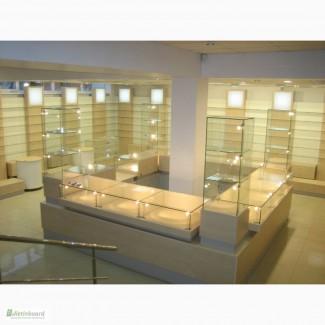 Прилавки и торговые витрины из стекла
