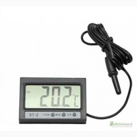 Термометр цифровой Elitech ST-2 ( -50 C. +70 C ) с двумя датчиками температуры, часами