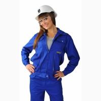 Женский рабочий костюм василькового цвета