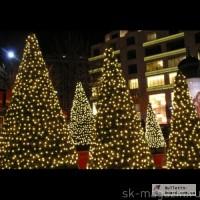 Новогоднее украшение гирляндами. Новогодняя подсветка.Гирлянда светодиодная бахрома.