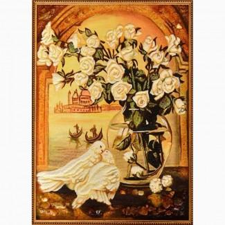 Натюрморты из янтаря (цена указана для размера 20х30 рамка деревянная)