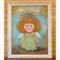 Картина маслом на подарок Мой ангел сумочкой