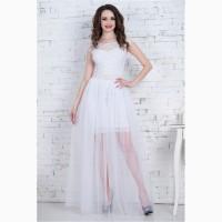 Красивое молочное и пудровое платье-трансформер