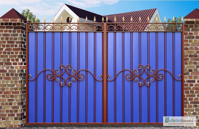 ворота и забор из профнастила в ялуторовске цена и картинка