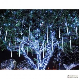 Новогодние украшения гирлянды, праздничная иллюминация.Монтаж гирлянд.