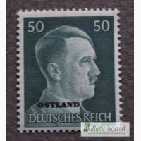 Марка. Adolf Hitler. Deutsches Reich. Ostland. 50 pf. 1941г. SC 16