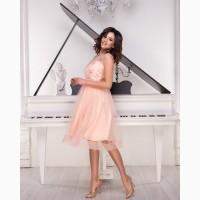 Коктейльное платье персиковое