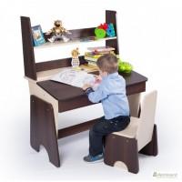 Регулируемые парта и стул Соня двухцветные с полочкой